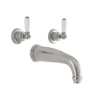 3800 Perrin & Rowe Three Hole Wall Mounted Bath Tap Set Lever